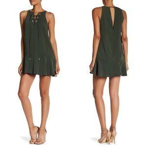 Parker green lace up dress